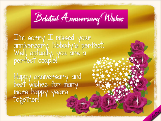 Belated Anniversary Wishes Quotes: The Perfect Couple. Free Belated Wishes ECards, Greeting