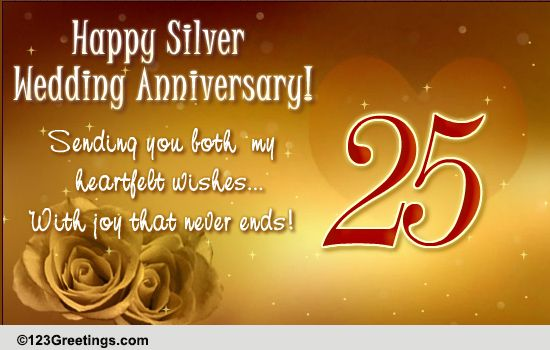 Silver Wedding Anniversary Free Milestones Ecards Greeting Cards