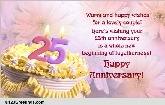 25Th Anniversary Quotes | 25th Anniversary Free Milestones Ecards Greeting Cards 123 Greetings