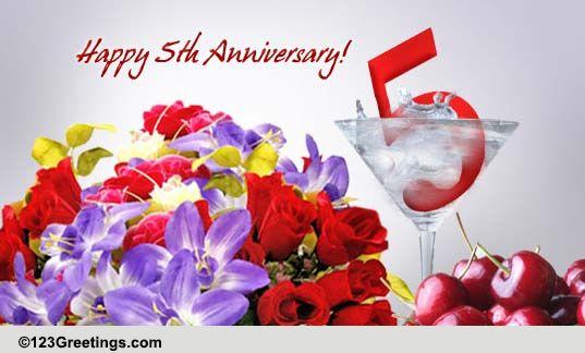 Celebrate 5 years of love! free milestones ecards greeting cards