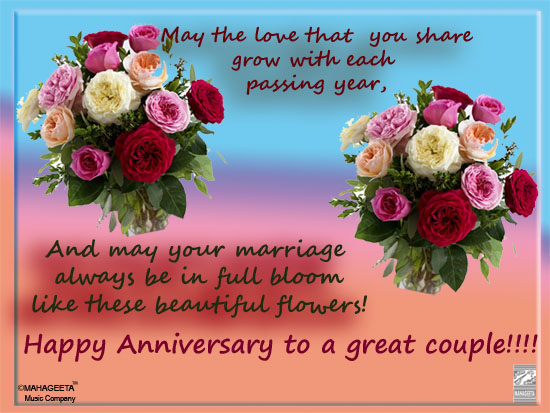Happy anniversary to a great couple! free to a couple ecards 123