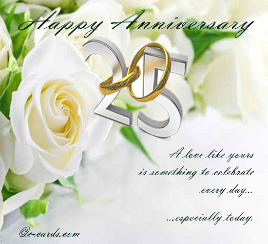silver wedding anniversary free to a couple ecards With happy 25th wedding anniversary