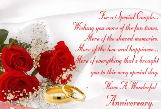 Wedding Anniversary Gift For Friends: Have A Wonderful Anniversary. Free To A Couple ECards