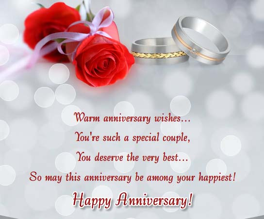 Warm anniversary wishes free to a couple ecards