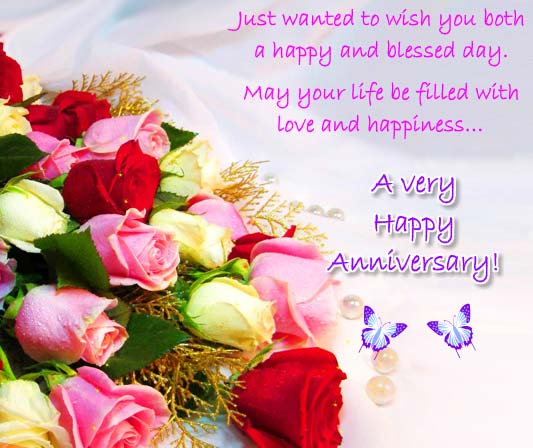 Happy Anniversary To A Beautiful Couple Quotes: A Happy And Blessed Anniversary! Free To A Couple ECards