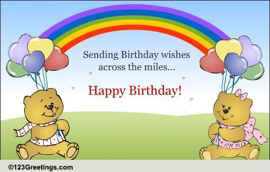 Birthday Quotes For A Friend Miles Away : Pin birthday wishes across the miles free cakes cake on