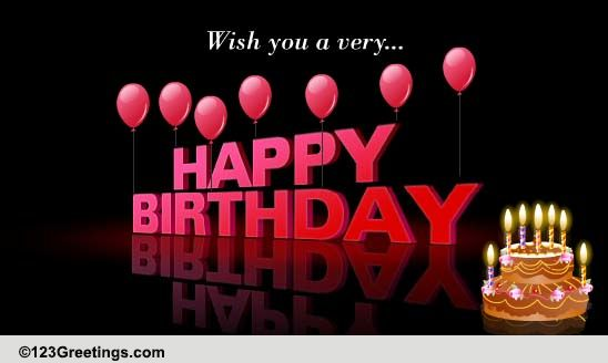 Wish You A Very Happy Birthday. Free Cakes & Balloons eCards | 123 ...