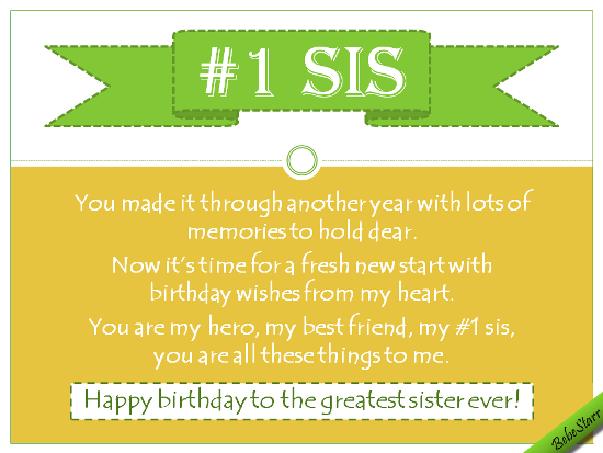 Birthday Wishes For Number One Sis.