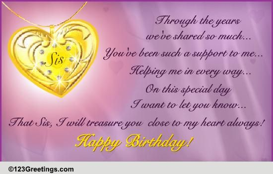 on your sister's birthday free brother  sister ecards, Birthday card