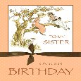 Home : Birthday : For Brother & Sister - Vintage Sisters In Apple Tree.