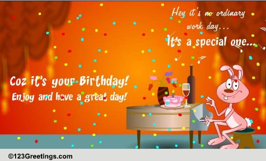 A Special Day At Work Free Boss Colleagues eCards Greeting – Birthday Card for Colleague