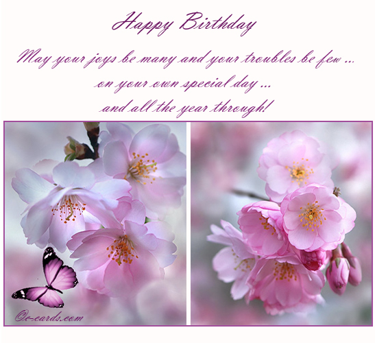 Blossom Free Flowers eCards Greeting Cards – A Beautiful Birthday Card
