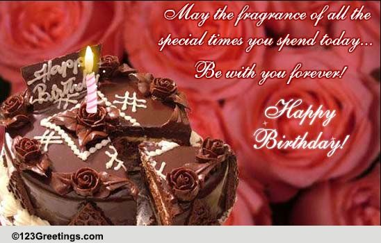 Chocolate Rose Cake Bday Wishes Free Flowers ECards Greeting Cards