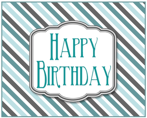 Teal Stripes Birthday Free For Him ECards Greeting Cards