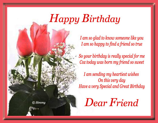 Happy Birthday Dear Friend Free For Your Friends eCards Greeting – Happy Birthday Cards for a Friend