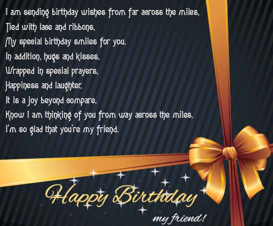 B'day Wishes From Far Across The Miles. Free For Best