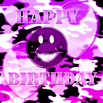 Purple Camo Birthday Smile.