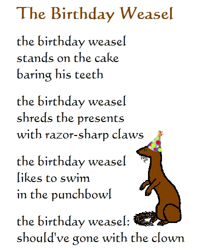 The Birthday Weasel - A Birthday Poem. Free Funny Birthday Wishes ECards