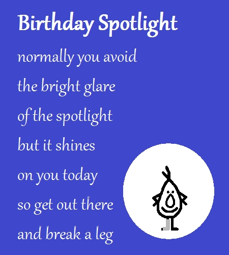 Birthday Spotlight A Funny Poem Free Funny Birthday