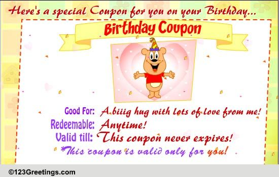 Special Birthday Coupon Free Funny Birthday Wishes Ecards