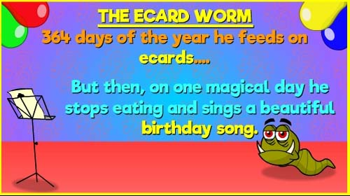 Ecard Worm Free Funny Birthday Wishes ECards Greeting Cards