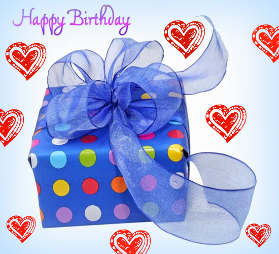 Birthday Gift With Hearts Of Love
