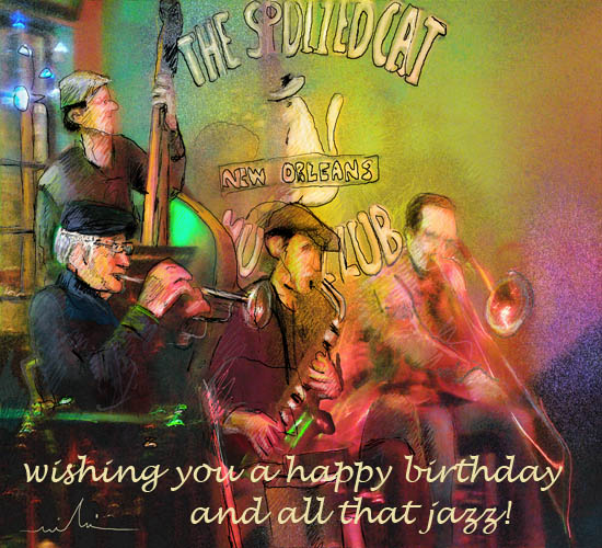 And all that jazz free happy birthday ecards greeting cards 123 colorful painting of a jazz band in new orleans m4hsunfo