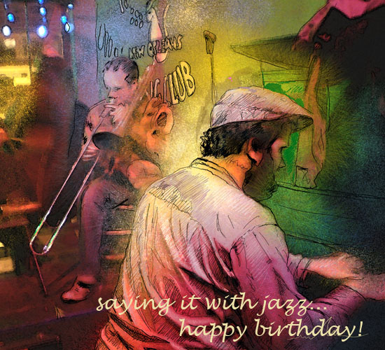 Saying it with jazz free happy birthday ecards greeting cards vibrant painting of two jazz musicians in new orleans to wish happy birthday in music m4hsunfo