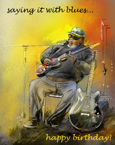 Colourful Birthday Card Featuring A Blues Musician In Memphis
