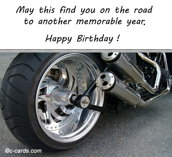 Biker Free Happy Birthday ECards Greeting Cards