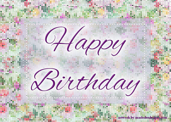 Abstract Glittery Happy Birthday Card.