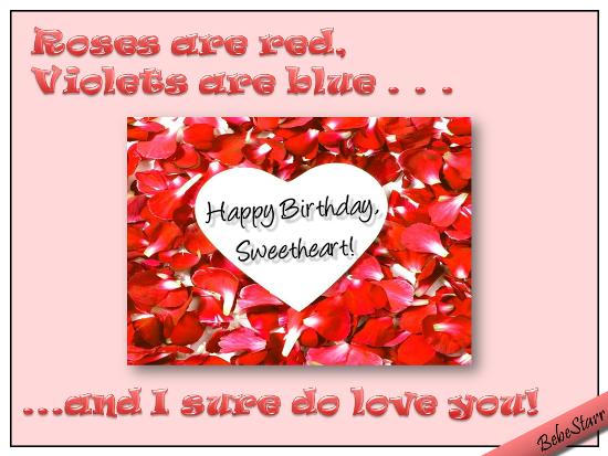 Petals And Hearts Birthday Rhyme.