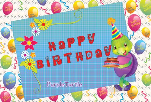 Birthday Wishes With Purple Turtle Free Happy Birthday Ecards 123