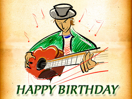 Happy Birthday Guitarist Free ECards Greeting Cards