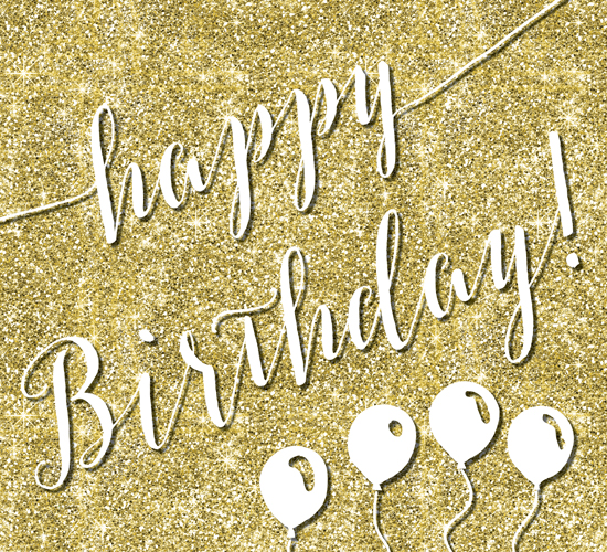 Glitter Happy Birthday Free ECards Greeting Cards