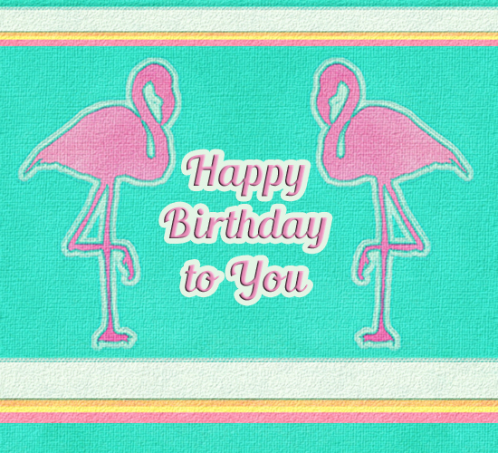 Happy Birthday Pink Flamingos