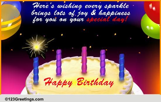 Sparkling Wishes On Your Birthday. Free Happy Birthday