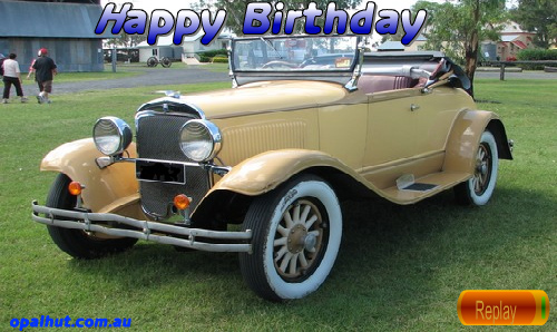 A Vintage Car Happy Birthday Greeting Free ECards