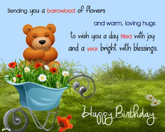 Flowers And Warm Hugs Free Happy Birthday Ecards
