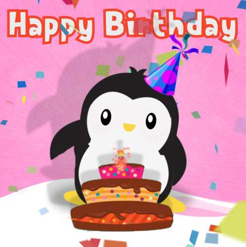 Happy Birthday With A Penguin Free Happy Birthday Ecards 123