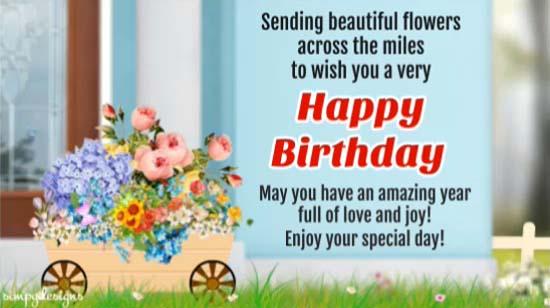 Across The Miles Birthday Wishes. Free Happy Birthday