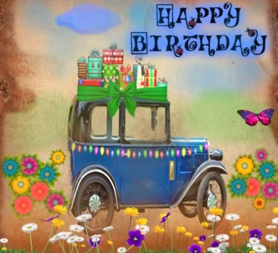 Happy Birthday Vintage Car Free Happy Birthday Ecards