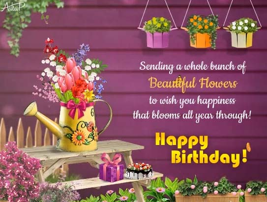 beautiful birthday wishes with flowers free happy