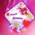 Romantic Pink Happy Birthday Card.