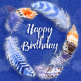 Happy Birthday Colorful Feathers.