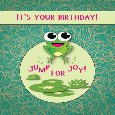 Cute Card With Frog Jumping For Joy!