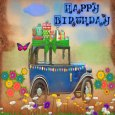 Happy Birthday Vintage Car.