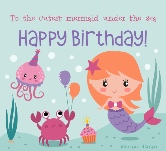 Mermaid Birthday Free For Kids Ecards Greeting Cards