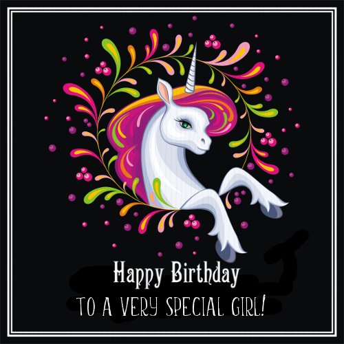 Unicorn Says Happy Birthday To Girl