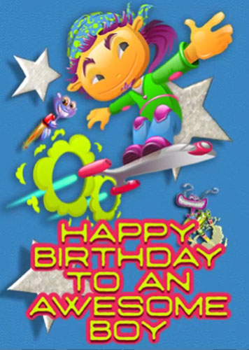 Happy Birthday To Awesome Boy Aliens Free For Kids eCards | 123